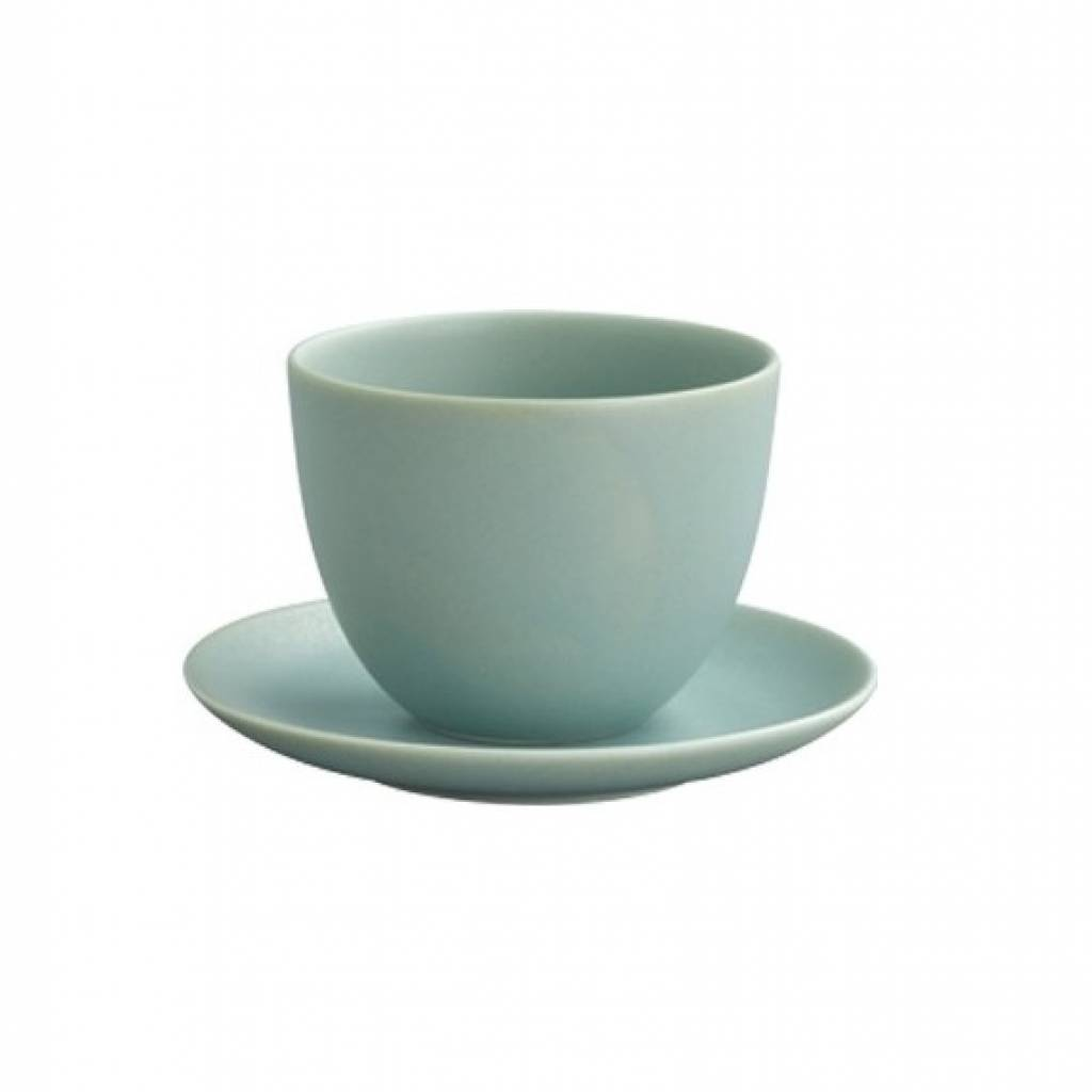 Kinto Pebble Cup and Saucer - Moss Green gallery image #1
