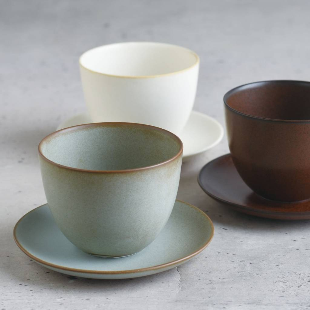Kinto Pebble Cup and Saucer - Moss Green gallery image #2
