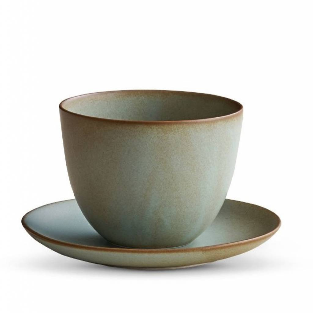 Kinto Pebble Cup and Saucer - Moss Green gallery image #3