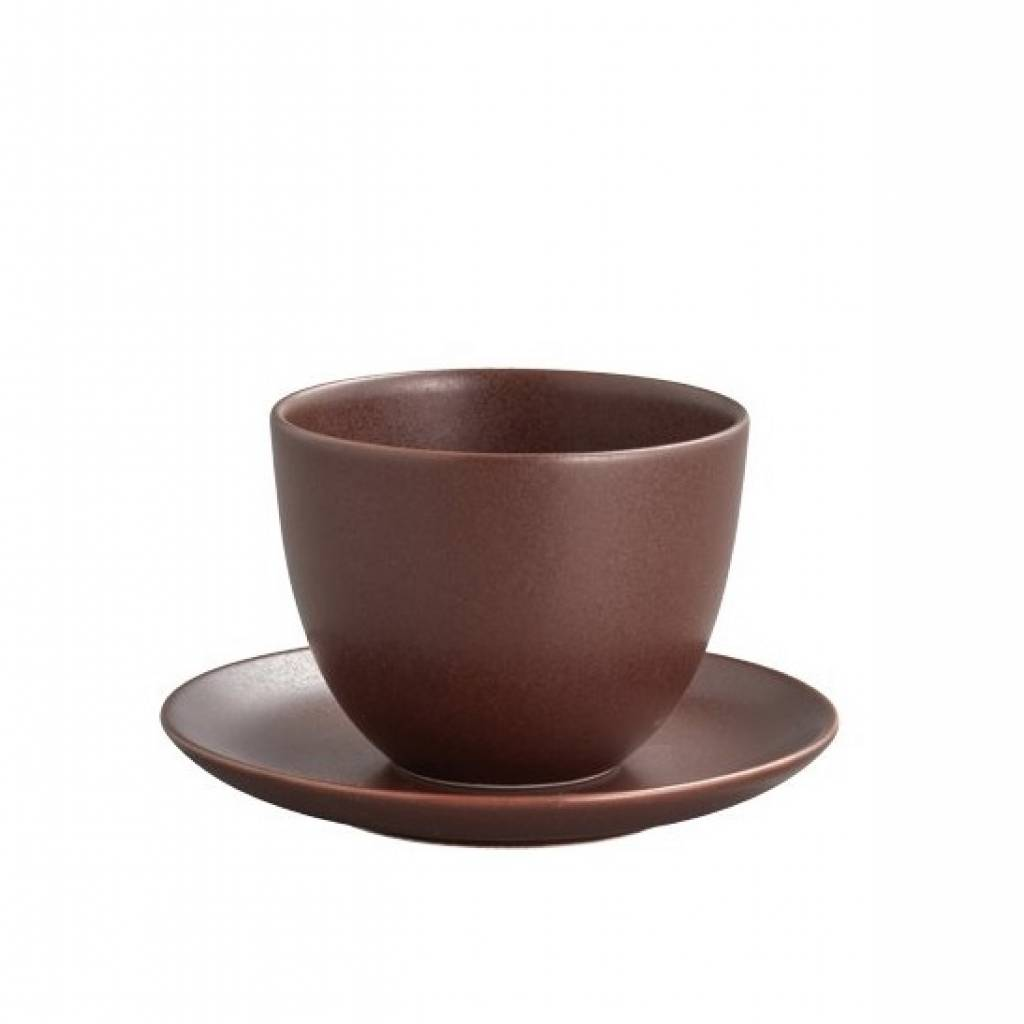 Kinto Pebble Cup and Saucer - Brown gallery image #1
