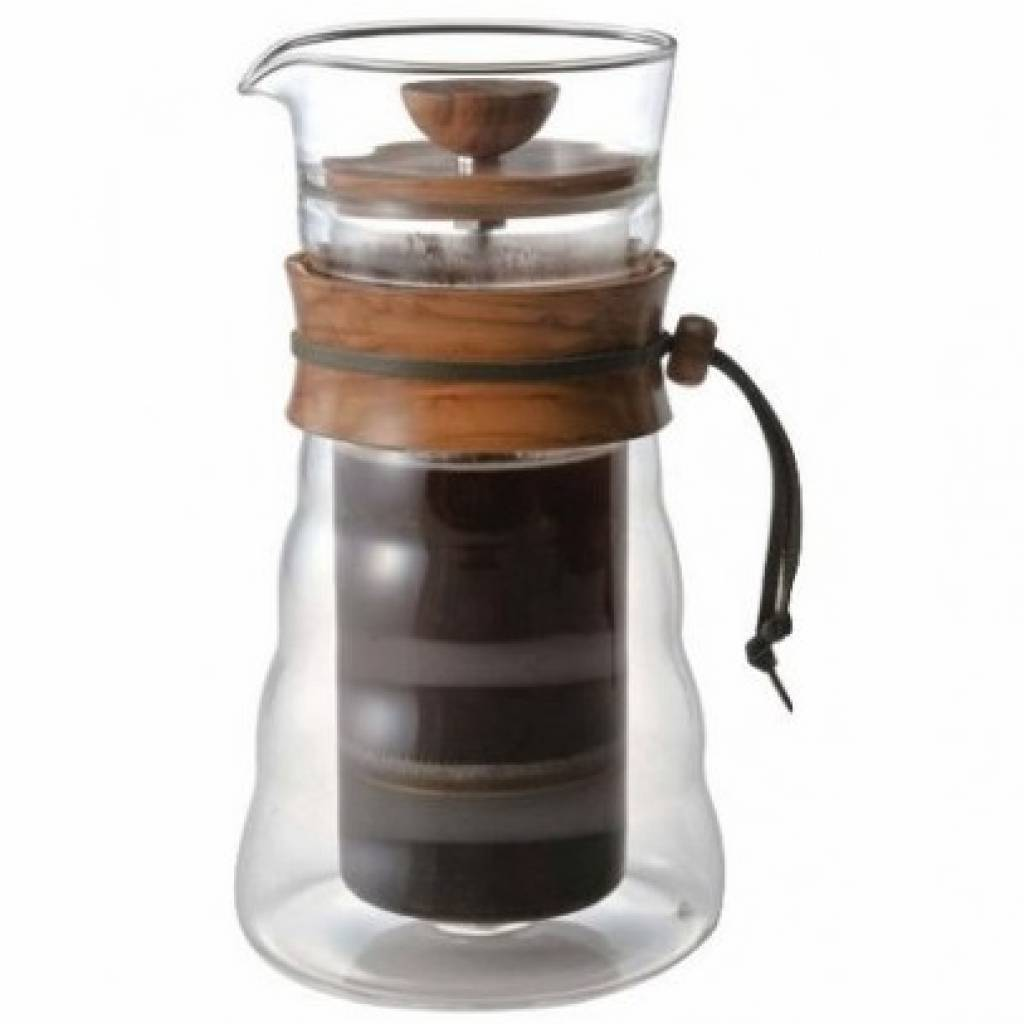 Hario Double Glass Olive Wood Coffee Press gallery image #2