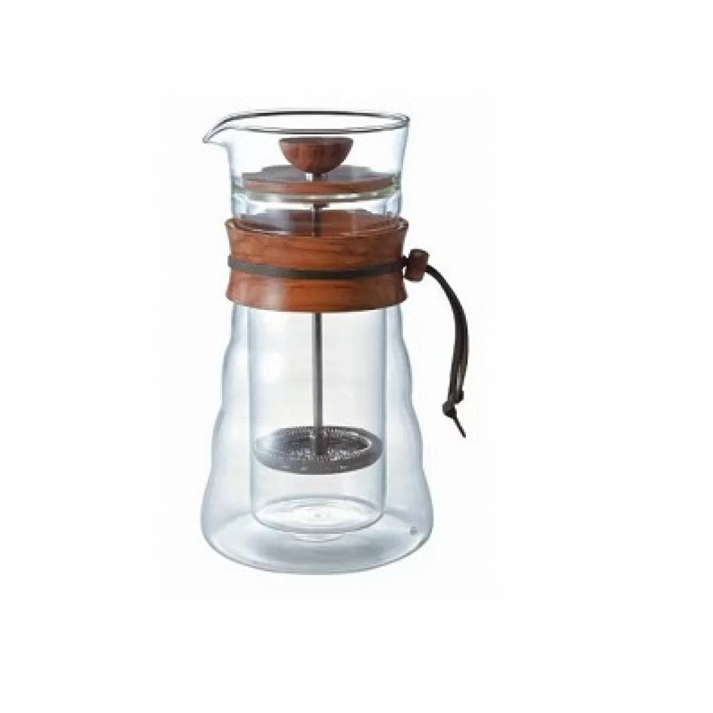 Hario Double Glass Olive Wood Coffee Press gallery image #1