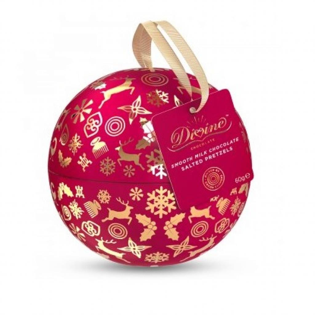 Divine Chocolate Covered Pretzel Nibbles Christmas Tin Bauble (60g) gallery image #1