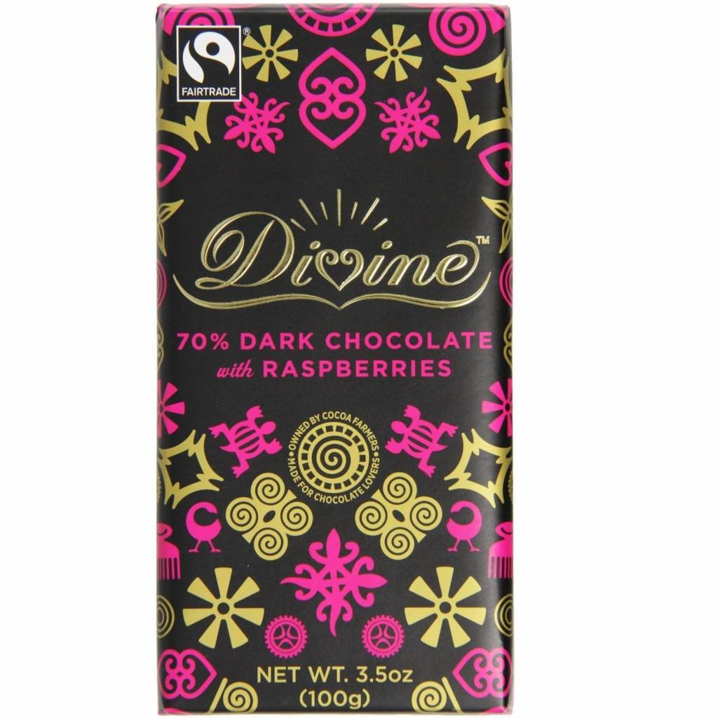 Divine Dark Chocolate with Raspberries (100g) gallery image #1