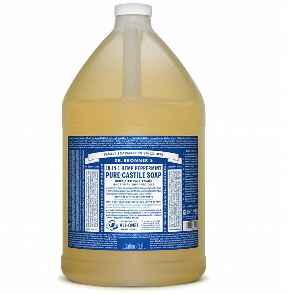 Dr Bronner Peppermint Pure-Castile Liquid Soap (1 Gallon) gallery image #1