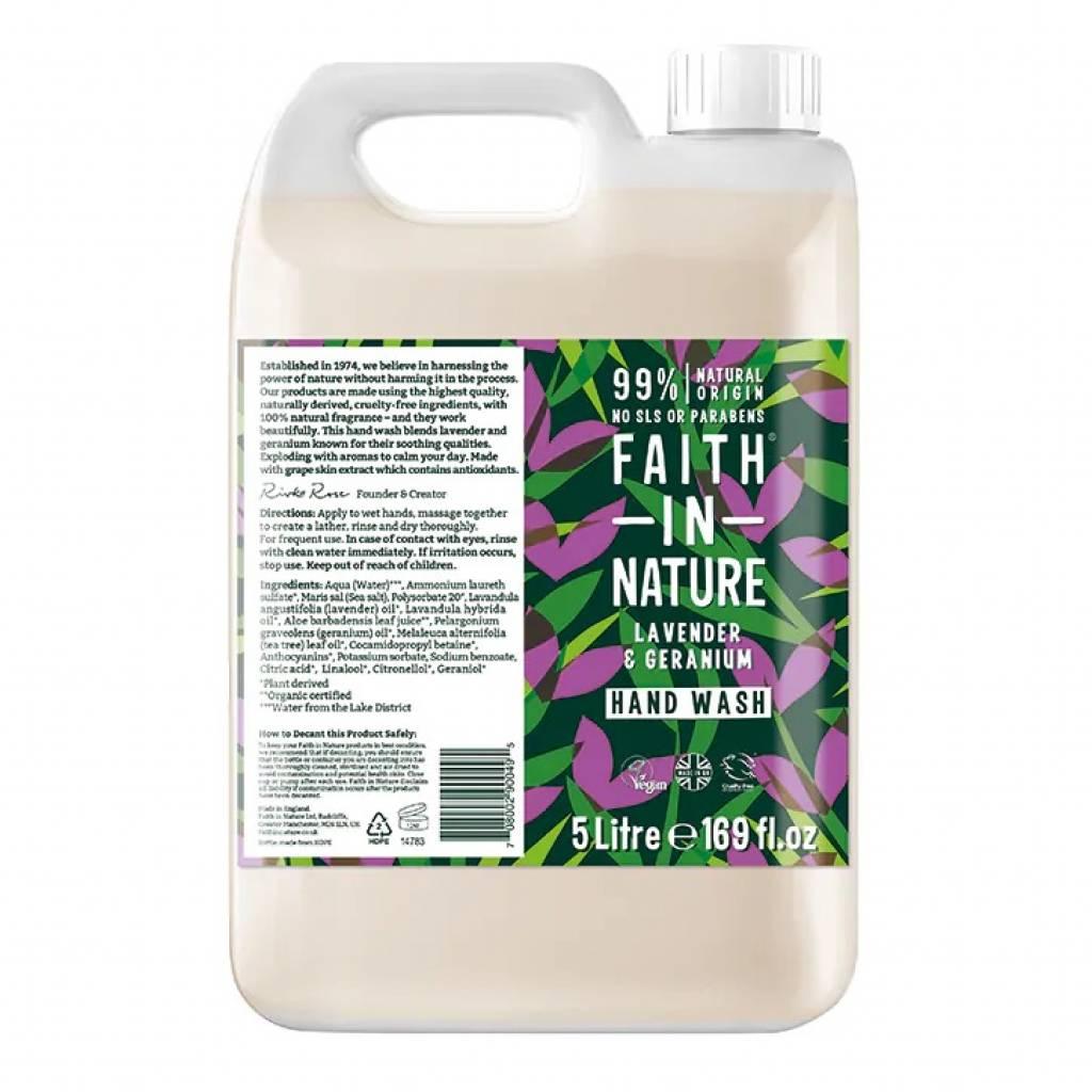 Faith in Nature Lavender & Geranium Hand Wash 5L gallery image #1
